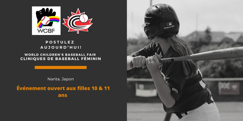 Postulez aujourd'hui pour participer à la clinique de baseball pour jeunes filles du «World Children's Baseball Fair»!