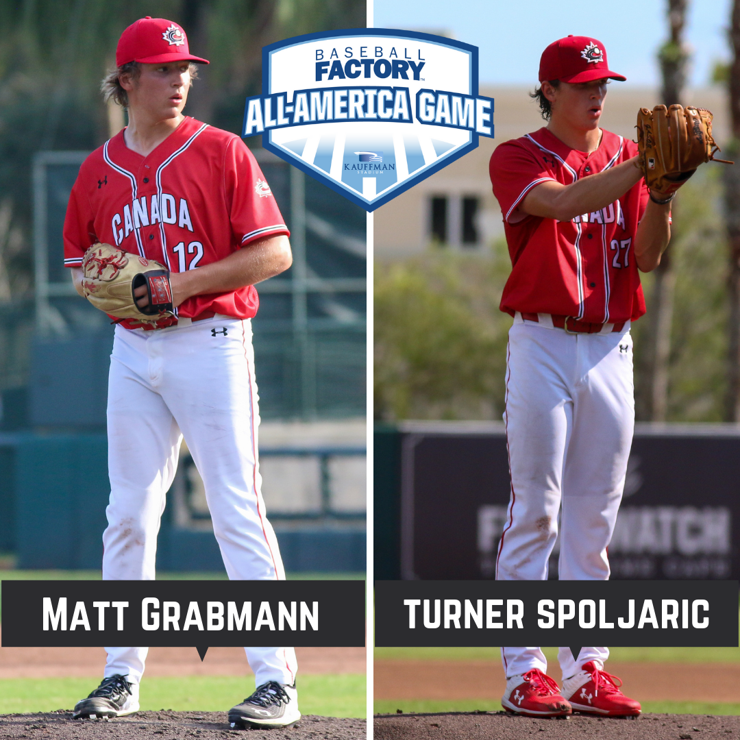 Grabmann and Spoljaric compete in Baseball Factory All-America Game
