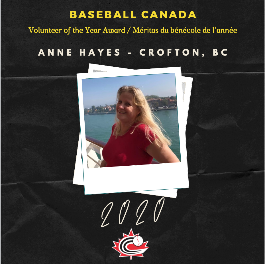 Anne Hayes wins Baseball Canada Volunteer of the Year Award