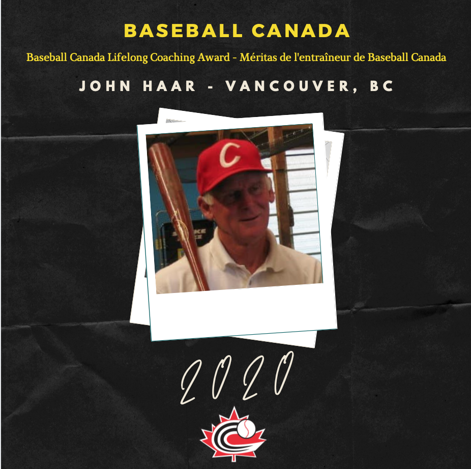 Baseball Canada honours John Haar with Lifelong Coaching Award