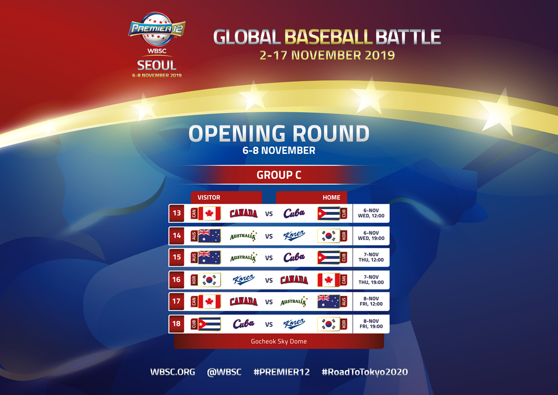 Canada to open Premier12 against Cuba